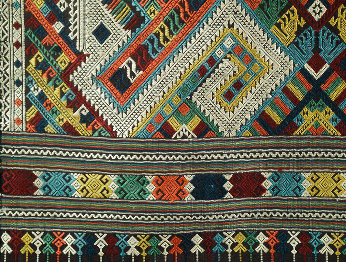 close up of a woven tapestry