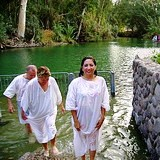 Holy Land pilgrimage: Baptism in River Jordan at Yardenit in Galilee