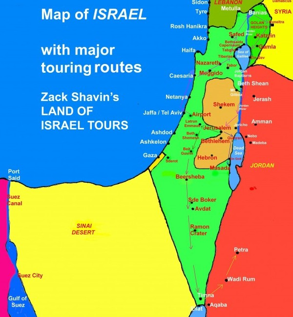 Map of Israel GENERAL Touring Routes