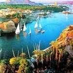 Feluccas sailing on Nile river Aswan Upper Egypt