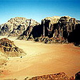Wadi Rum or Valley of the Moon, colorful sandstone wonderland near Petra in southern Jordan