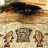 Loaves & Fishes mosaic at Tabgha by the Sea of Galilee