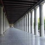 Doric style portico in Athens with double columns