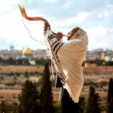 Shofar blowing on Mount of Olives