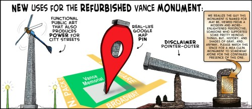 """""""Opportunity for A Vance Monument"""" cartoon by Brent Brown"""