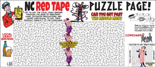 """""""NC Red Tape Puzzle Page"""" cartoon by Brent Brown"""