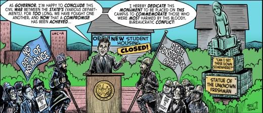 """Glory, Glory, Dormitory"" cartoon ©2018 - Brent Brown"