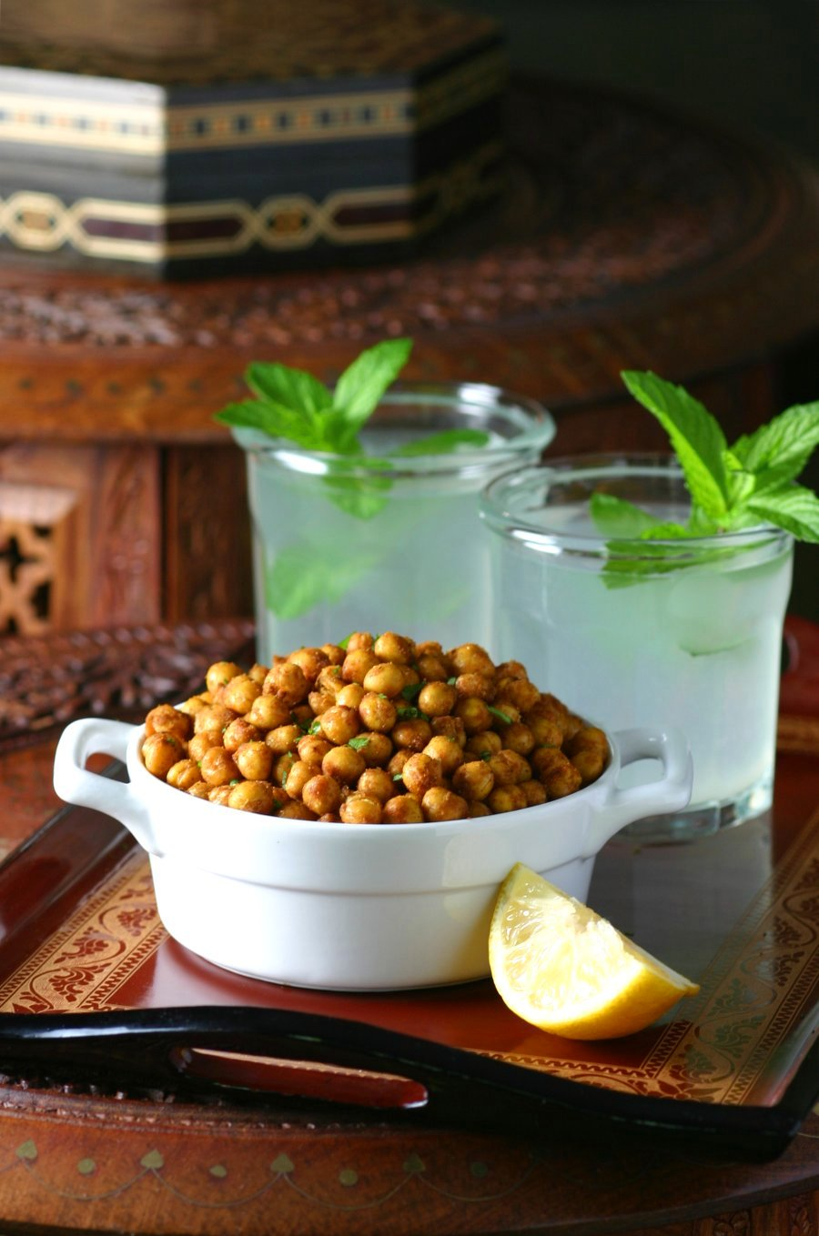 The perfect high protein snack, Falafel-Spiced Roasted Chickpeas are crunchy, spicy, and feature all the flavor of falafel with very little effort.