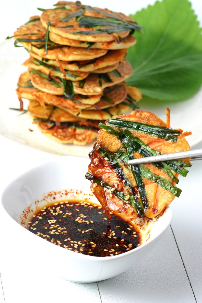 Gluten-free and vegan, these savory Korean Mung Bean Pancakes are chewy in the middle and crisp on the edges.