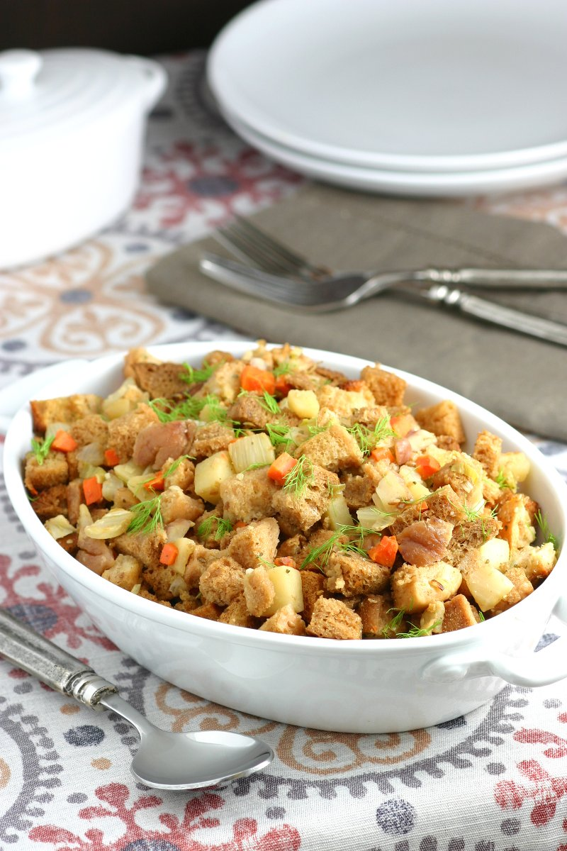 A must for any Thanksgiving table, stuffing is always a crowd-pleasing side dish. My Fennel, Apple, and Chestnut Stuffing does not disappoint!