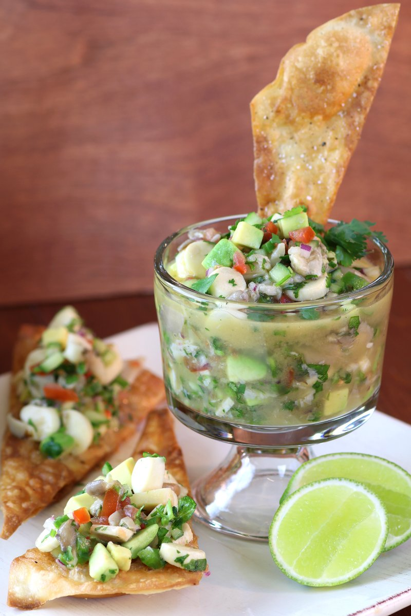 A fish-free version of a favorite dish throughout Latin America, this vegan Mushroom Ceviche uses two varieties of mushrooms for meaty texture and complex taste.