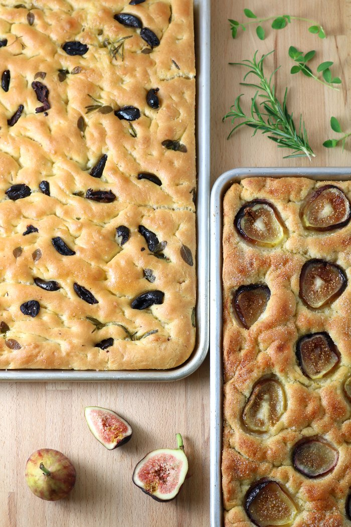 Olives, tomatoes, roasted veggies, herbs, or fruits...the topping possibilities are endless with this base recipe for Homemade Focaccia. And no kneading required!
