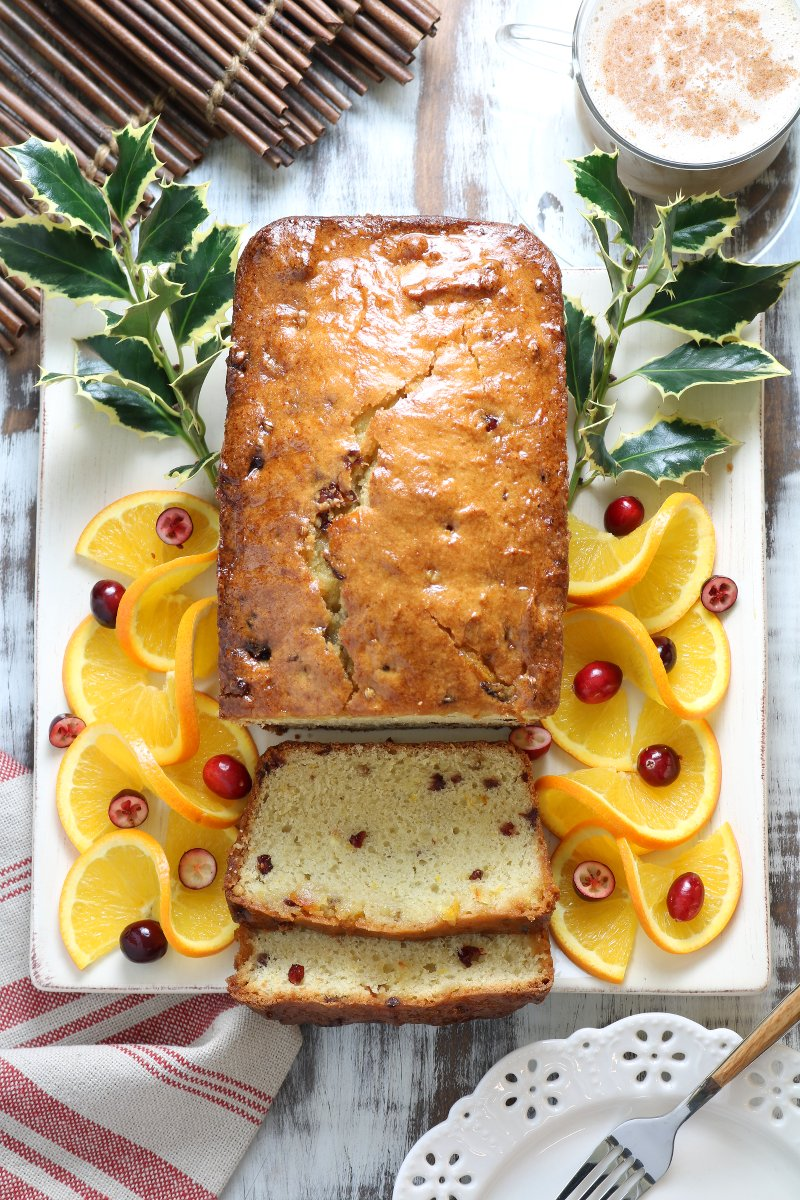 A Vegan Orange Cranberry Coriander Pound Cake recipe that is well-suited for serving as a baked treat for the holidays or any time of the year!