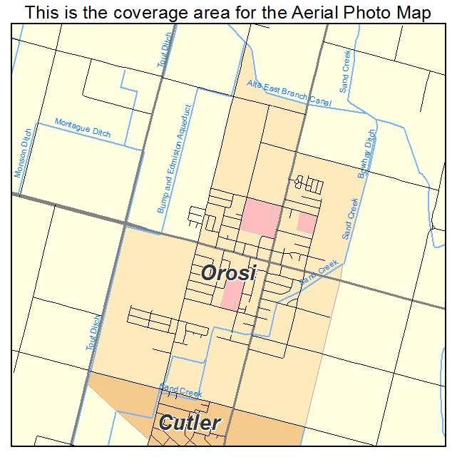Aerial Photography Map of Orosi CA California