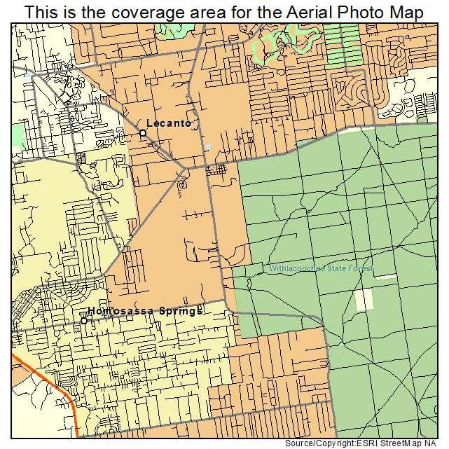 Aerial Photography Map of Lecanto FL Florida