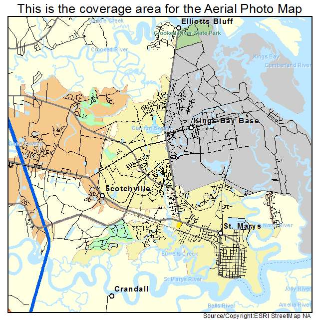 Aerial Photography Map Of St Marys GA Georgia