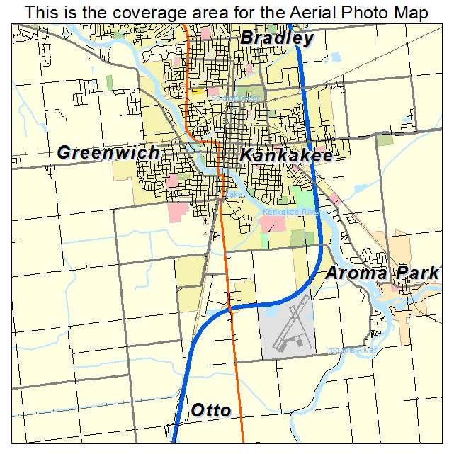 Aerial Photography Map of Kankakee IL Illinois