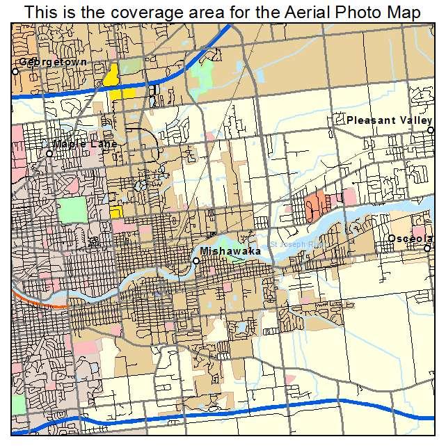 Aerial Photography Map of Mishawaka IN Indiana