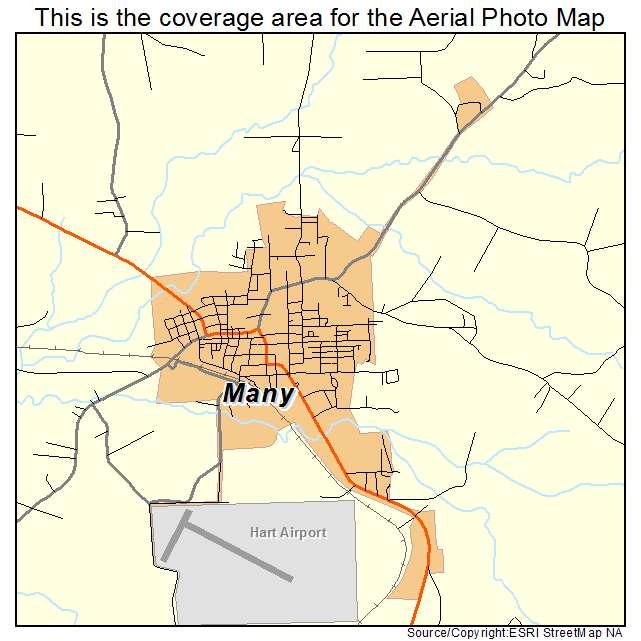 Aerial Photography Map of Many LA Louisiana