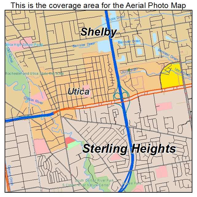 Aerial Photography Map of Utica MI Michigan
