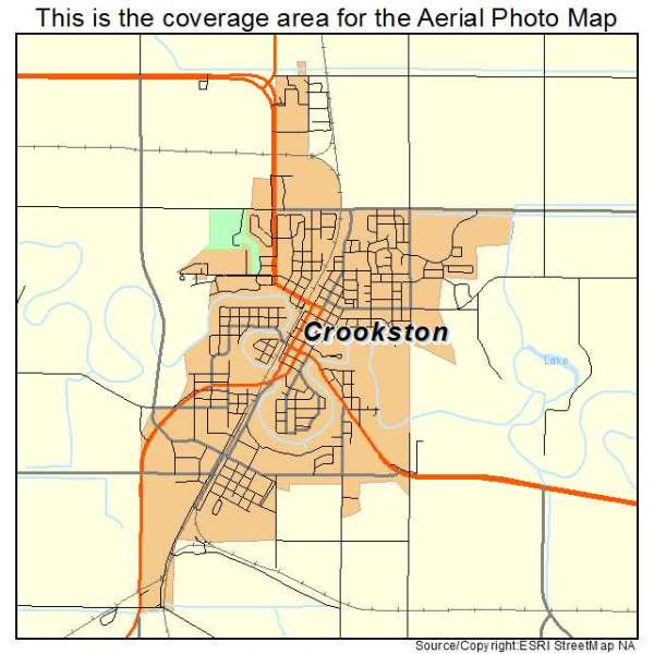 Aerial Photography Map of Crookston MN Minnesota