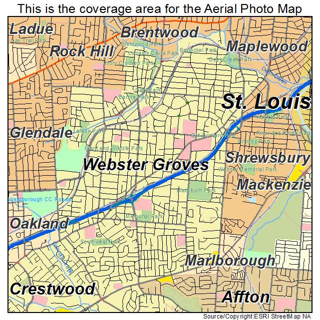 Aerial Photography Map of Webster Groves MO Missouri