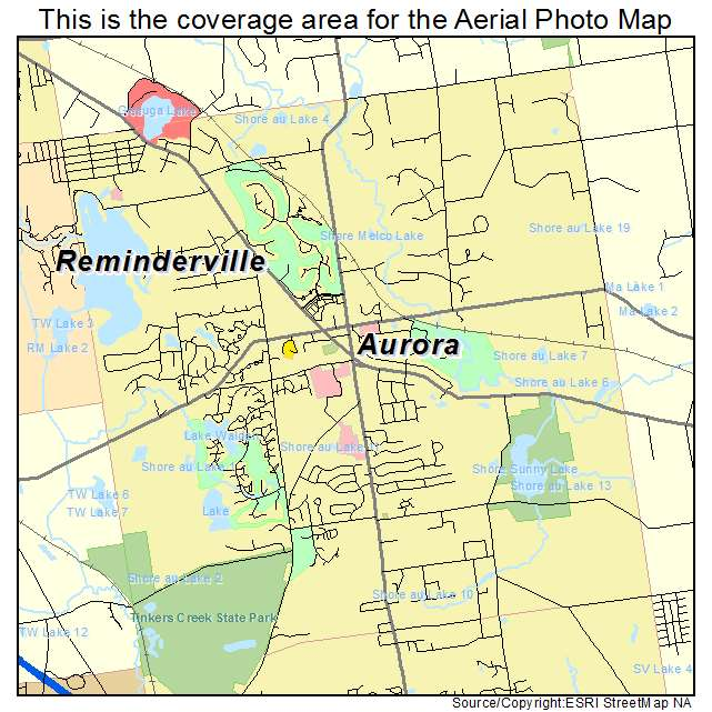 Aerial Photography Map of Aurora OH Ohio