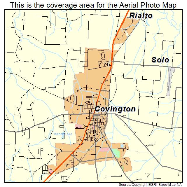 Aerial Photography Map of Covington TN Tennessee