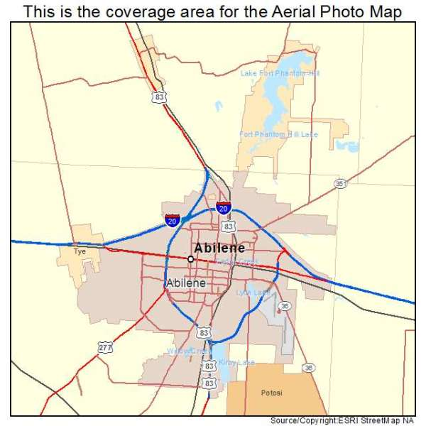 Aerial Photography Map of Abilene TX Texas