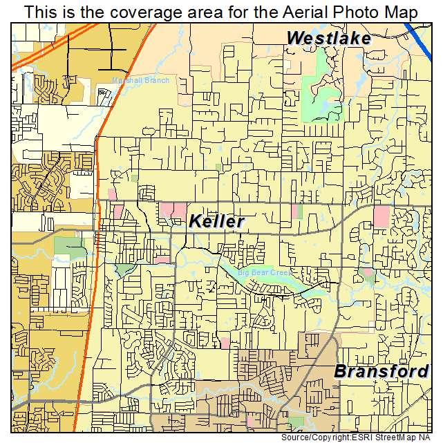 Aerial Photography Map of Keller TX Texas