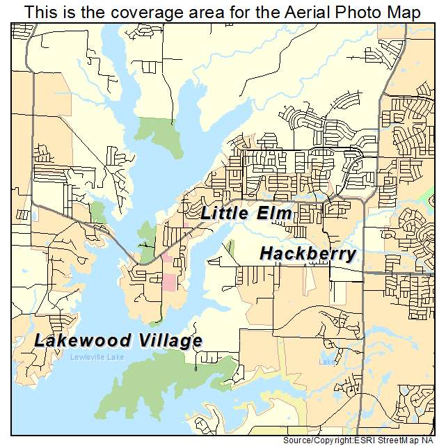 Aerial Photography Map of Little Elm TX Texas