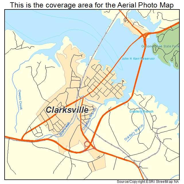 Aerial Photography Map of Clarksville VA Virginia