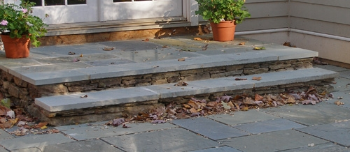 Beautiful Types Of Bluestone Steps | Brick Front Step Designs | Patio | Entry | Front Entrance Front Porch Wall Tile | Raised Front | Bluestone Treads 24 Inch Rise
