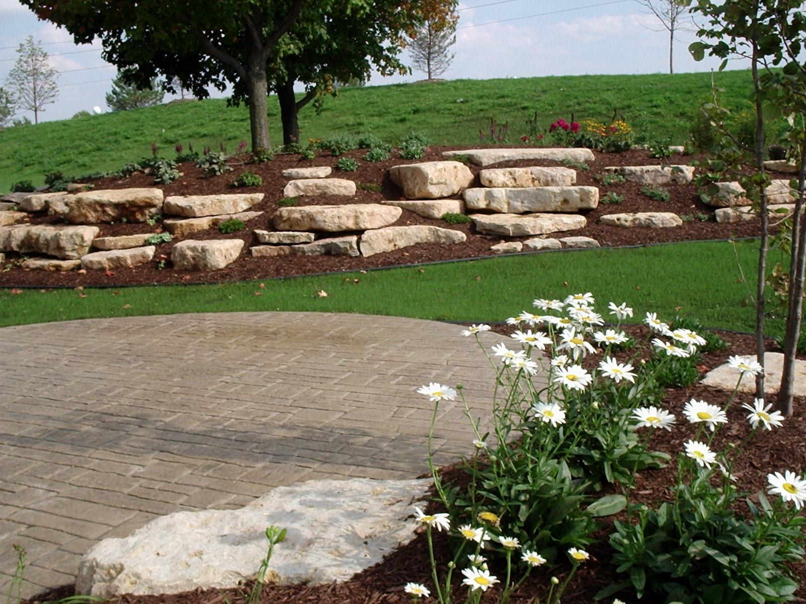 Backyard stone outcropping & garden