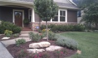 Backyard stone outcropping & garden