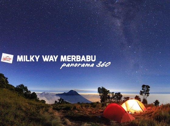 milky way merbabu panorama 360