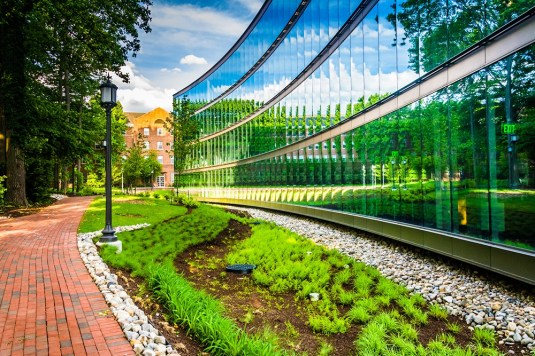 Garden and modern building at John Hopkins University in Baltimore, Maryland.