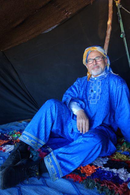 Guide and friend Lazrak hanging in a Berber tent