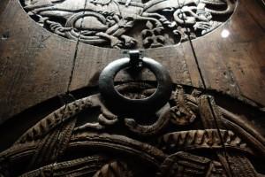 Medieval carved church door Valþjófsstaður found in the National Museum of Iceland