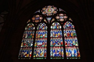 Luminous stained glass windows adorn the cathedral