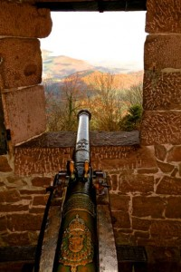 Top floor armaments aim directly at other castle ruins and keeps