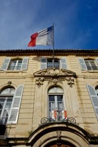 French flag flies high in the Place de la Republique