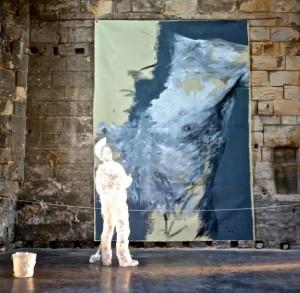 Art exhibit in an abandoned church