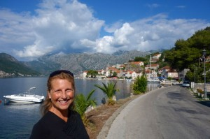 Tammy with magical Perast in the background