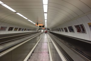 Crazy long elevators to the Budapest Metro