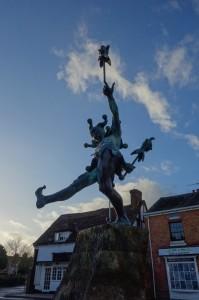 Jester celebrating the road where William Shakespeare was born