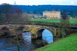 Chatsworth House from their bridge over the Derwent River