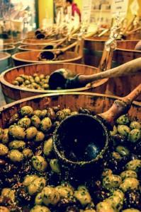 Barrels of olives at the market