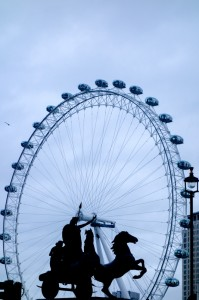 Prancing Horse of Boudica framed by the London Eye