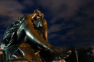 Sculpture alongside Victoria Memorial outside Buckingham Palace
